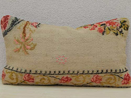 - Floral Needlepoint Tapestry Aubusson Large Kilim Rug Pillow Cover 12'' X 20'' (30 x 50 Cm)