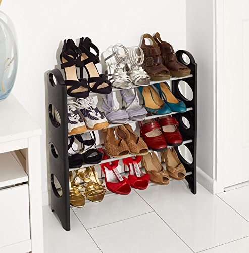 Vinsani 4 Tier Free Standing Shoe Rack Stand Storage Organiser Shelf Home Furniture (Black)