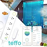teffo, Aquarium Temperature Controller w/Magnetic Sensor, WiFi Thermometer, 2-Stage Thermostat, 4 Relays, 1100W Power Strip, Fish Tank, Digital Timer, One-Clink AUTO, Cloud Management