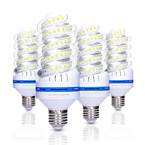 ANMIEN 150 Watt Equivalent LED Light Bulbs,20W 1700 Lumens Spiral LED Bulb,6000K Daylight White,Non-Dimmable,E27 Base,UL Listed,4-Pack 150w Compact Fluorescent Bulb