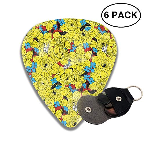 351 Shape Medium Classic Celluloid Picks, 6 Pack, Daffodils Spring Pattern Guitar Picks for electric guitar, acoustic guitar, mandolin, and bass