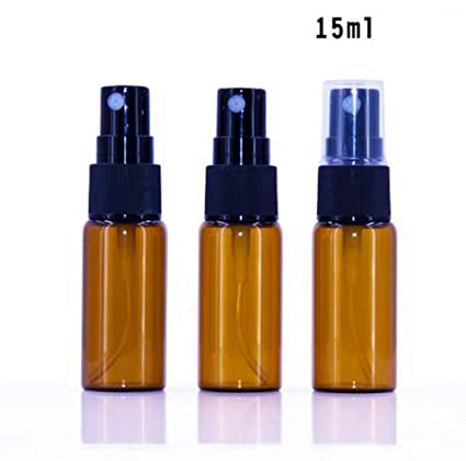 12 STK Amber botellas de cristal vacías pulverizador redondas Botella de cristal con claro vaporizador –