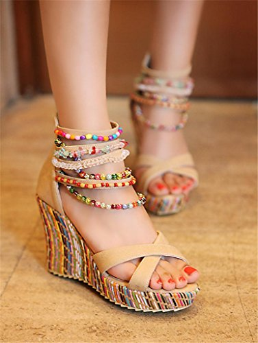 Wedge apricot Heel Casual Girl's Party Pearl HETAO PU Dress Gift Personality Sandals Women's Orange Evening Spring amp; Summer Fall Blue RnH7wgqA1