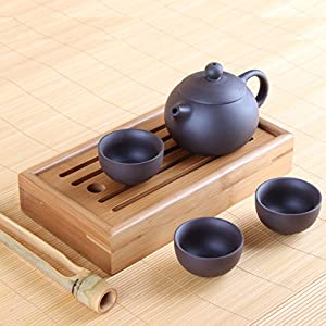 Chinese Yixing Zisha Clay Tea Set - Pot with Three Cups, Tea Tray Chapan and Tongs