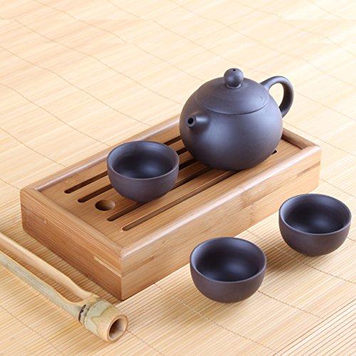 Yixing Tee-Set aus Zisha-Ton - Teekanne mit drei Teeschalen, inkl. Chapan und Teezange
