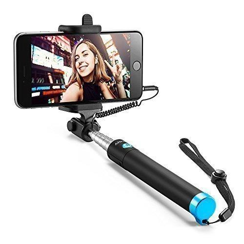 Anker Selfie Stick Selfie-Stangen Ausfahrbar [ohne Akku] Kabelgebunden Stab für iPhone 6s 6 5, Galaxy, Nexus und andere Smartphones (Schwarz)