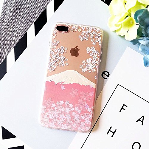 Blingy's iPhone 8 Plus Case/iPhone 7 Plus Case(5.5inch), Flower Pattern Series Transparent Clear Protective Case for iPhone 8 Plus/iPhone 7 Plus (Cherry Blossom - Phone Blossom Cherry