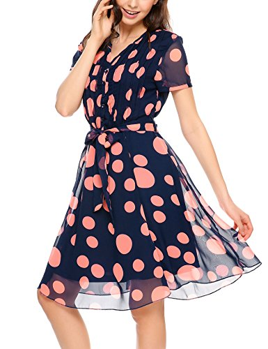 Acevog Blau para Vestido mujer corta manga Rot Mit camisa de de ZxfrPwqZ