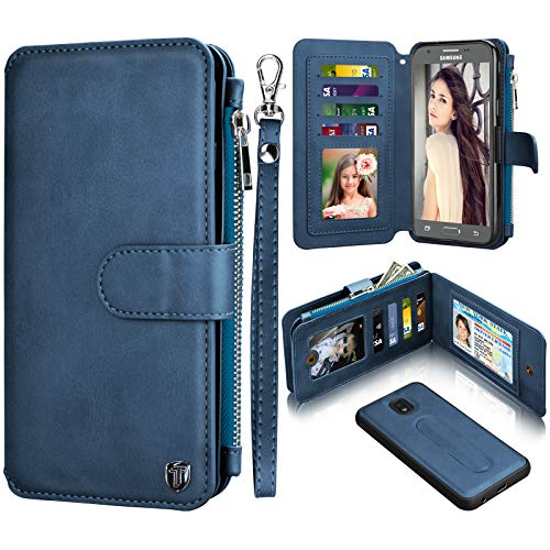 - Njjex Wallet Case for Samsung Galaxy J7 2018, for Galaxy J7 Refine/J7 V 2nd Gen/J7 Aero/J7 Aura/J7 Top/J7 Crown/J7 Eon/J7 Star, PU Leather Card Slots Holder Zipper Purse Magnetic Flip Cover [Navy]
