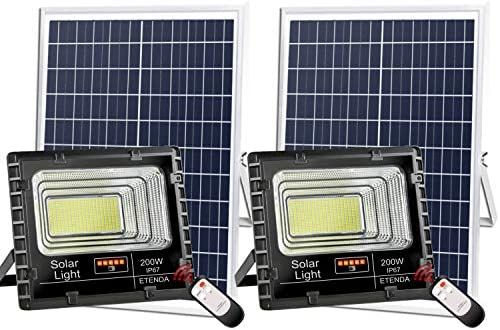 ETENDA 2PACK 200W Solar Flood Lights Outdoor,Street and Area Lighting,Dusk to Dawn 400LEDs IP67 Outdoor Waterproof,8000,Lumen Light Sensing,Remote Control Safety floodlight