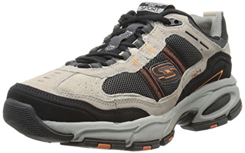 Skechers Sport Men's Vigor 2.0 Trait Memory Foam Sneaker, Taupe/Black, 8 M US (Best Looking Athletic Shoes)