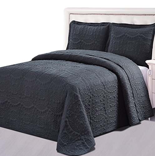 Bedspread Set Queen Grey Microfiber