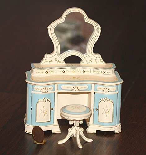 Dollhouse Miniature Blue and Cream Ladies Vanity Set by Dollhouse Miniature