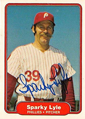 Sparky Lyle autographed baseball card (Philadelphia Phillies) 1982 Fleer #247