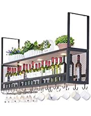 Opknoping Plafondgemonteerde Wijnrek Houten   Metalen Wijnfleshouder met Spotlights   Opgeschort Wijnglas Houder   Wijnhouder Home Keuken Decor (Zwart)