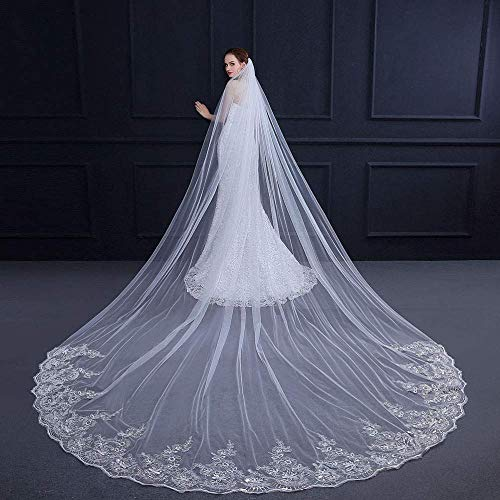 TYUJTYJ Cathedral-Style Trailing Bridal Veil,Exquisite Sequined Lace-Edged Wedding Veil Accessories 1Layer Multiple Sizes,White-4m3m