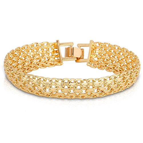 polishing bracelet link large thick amazon plated textured bangle quot com microfiber gold nugget chunky jewelry bangles dp