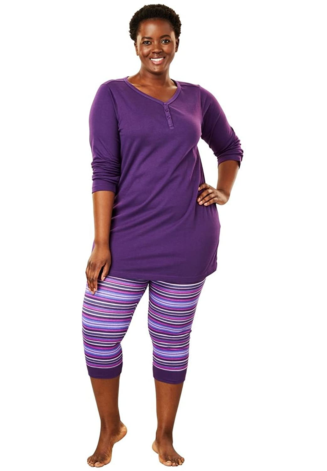 Dreams & Co Women's Plus Size Capri Legging Pj Set