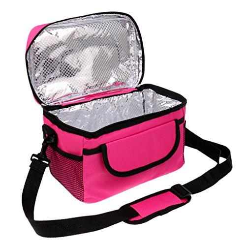MagiDeal Viaggio Esterno Freddo Termico Borsa Sacchetto di Pranzo Tote Box Sacchetto Tote Box Contenitore - Portatile - Blu Rosa caldo