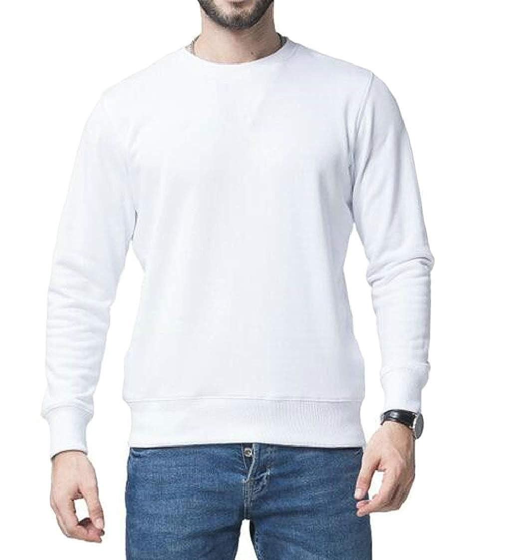 Pandapang Mens Loose Fit Solid Color Pullover O-Neck Sweatshirts Tops T-Shirt