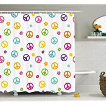 Ambesonne Groovy Decorations Shower Curtain Set, Peace Symbol Old Lifestyle Sign Slogan Celebration Merry Jolly Theme Artful, Bathroom Accessories, 69W X 70L Inches