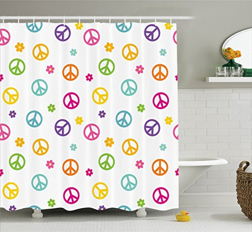 Ambesonne Groovy Decorations Shower Curtain Set, Peace Symbol Old Lifestyle Sign Slogan Celebration Merry Jolly Theme Artful, Bathroom Accessories, 69W X 70L (Slogan Sign)