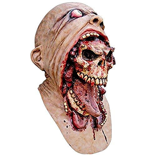 (Xiaolanwelc@ Halloween Latex Bloody Mask Zombie Face Melting Walking Dead Horror Costume Party Prop)