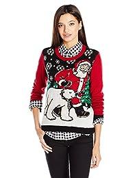 Ugly Christmas Sweater Company Suéter Feo de Navidad para niños con Luces de Papá Noel y Oso Polar, Negro, S