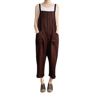 42936aa19974 Lolittas 🥀❤Suspender Trousers Café Noir Femmes sans Manches Bouton  Combinaisons Salopettes Sarouels Longs Pantalons