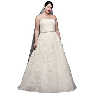 David\'s Bridal Rose Lace Plus Size Ball Gown Wedding Dress Style ...