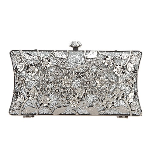 Purses Bonjanvye Metallic Shining for Silver Handbags Bags Floral Clutch Girls wpP8qH