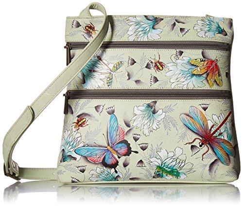 Anuschka Women's Genuine Leather Shoulder Bag | Hand Painted Original Artwork | Compact Crossbody Travel Organizer | Wondrous Wings