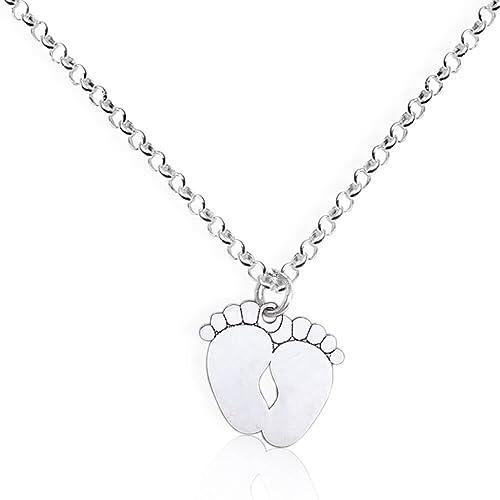 13e1f291e0 Collana con ciondolo a forma piedini in argento 925. Ciondolo con piedi  bimbo: Amazon.it: Gioielli