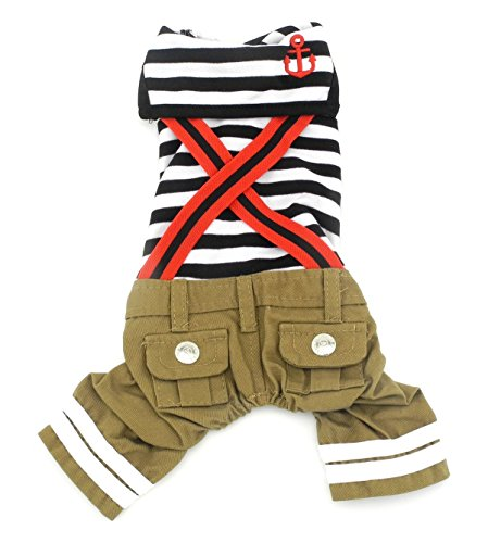 Gollyking Dog Jumpsuit Overalls Costume Nautical Stripes Sailor Cotton Clothes With Pants For Small Boys Puppy Pets (Sailor Boys,M for back length 10