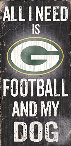 Green Bay Packers Wood Sign - Football And Dog 6''x12''