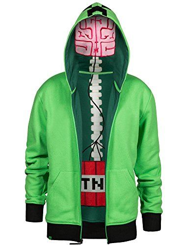 JINX Minecraft Big Boys' Creeper Anatomy Premium Zip-Up Hoodie (Green, Small)
