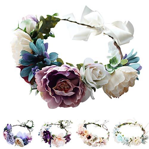 (Handmade Adjustable Flower Wreath Headband Halo Floral Crown Garland Headpiece Wedding Festival Party (D-(Purple+White)) )