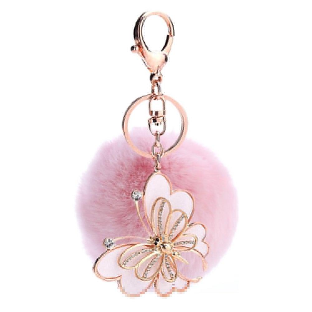 ACTLATI Elegant Butterfly Keyfob Faux Crystal Keyring Pompom Fluffy Ball Handbag Keychain Decor