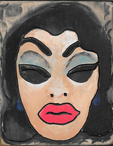 Vintage Halloween Mask Wood Art, Woman's Face Design, Carved and Painted Wooden Wall Decor, 3-D Relief. measures: 7 X 11