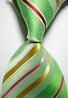Jacob AleX #47114 Novelty Striped Red Green JACQUARD WOVEN Silk Men's Tie Necktie