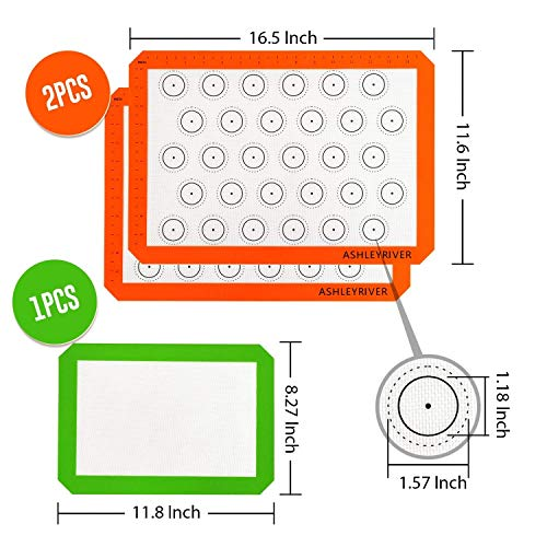 Macaron Silicone 3 Piece Non Stick Baking Mats with Measurements 2 Half Sheet Liners and 1 Quarter Sheet Mat, Non Toxic and FDA Approved,Orange and Green