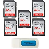 Everything But Stromboli SanDisk 32GB Ultra - 5 Pack Bundle UHS-I Class 10 SDHC Flash Memory Card Retail (SDSDUNC-032G-GN6IN) - With (tm) Combo Card Reader