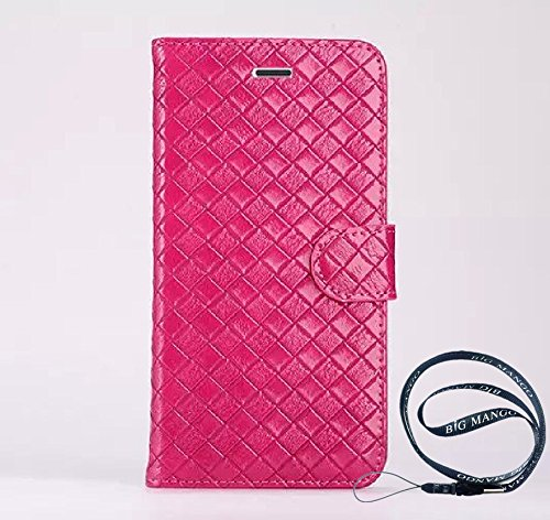 """Fashion Business Style Weave Design Iphone 5s Skin High Quality Flip Folio PU Leather Case and Fine Wallet Cover for Apple iphone 5 with Multiple Card Holders & Magnet Closure & Kickstand,+ Gift """"BIG MANGO"""" Logo Long Strap - Plum"""
