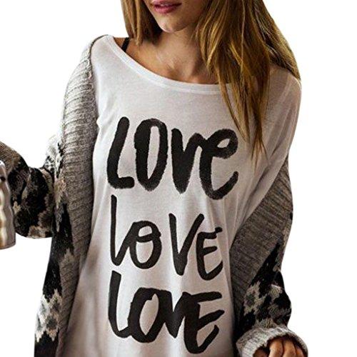 Female Blouse,Kstare Women's Valentine's Day Love Print Long Sleeve Sweatshirt Tops Blouse T-Shirt Tee (White, XL)