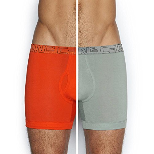 C-IN2 Men's Core Fly Boxer Brief (Pack of 2), Wild Fire/Chain Large