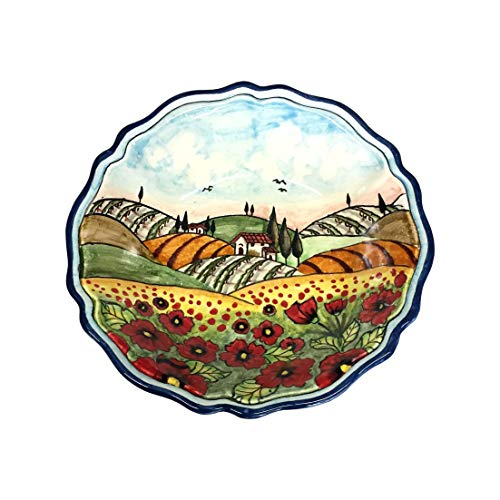 CERAMICHE D'ARTE PARRINI - Italian Ceramic Art Pottery Serving Bowl Small Centerpieces Hand Painted Decorative Landscape Poppies Tuscan Made in ITALY by CERAMICHE D'ARTE PARRINI since 1979