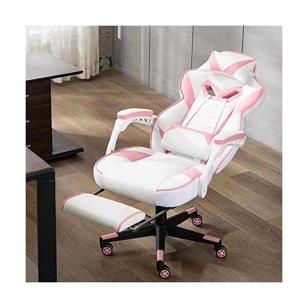 Bonzy Home Gaming Chair Computer Office Chair Ergonomic Desk Chair With Footrest Racing Executive Swivel Chair Adjustable Rolling Task Chairpink