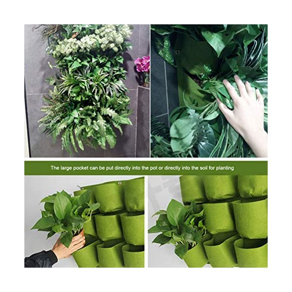 Stylelove Sacco per Piantare Appeso A Parete, 18 Tasche Verde Fioriera per Piantare Fioriera Verticale Giardino Orto… 7 spesavip
