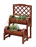 Raised Garden Tiered Planter Double Barrel Flower Pots Trellis Herb Plant Bed