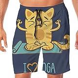 Haixia Mens Funny Boardshorts Animal I Love Yoga Theme Cute Cartoon Cat Exercis